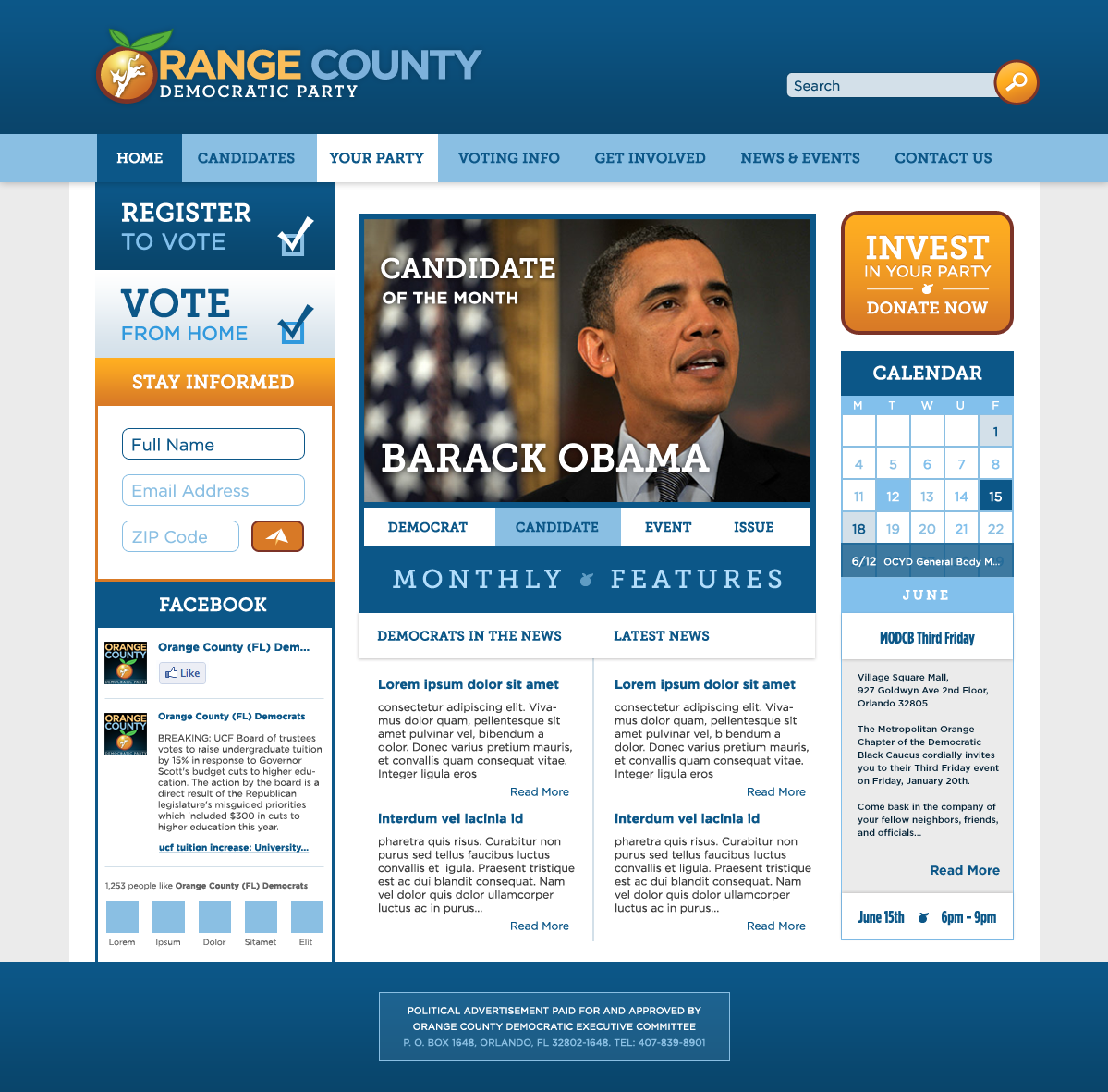 OC FL Democrats Web Design