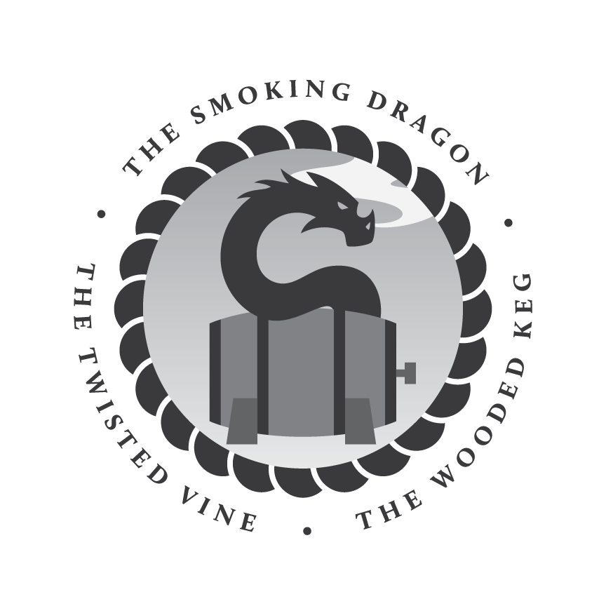 Smoking Dragon - Wooded Keg - Twisted Vine Logo
