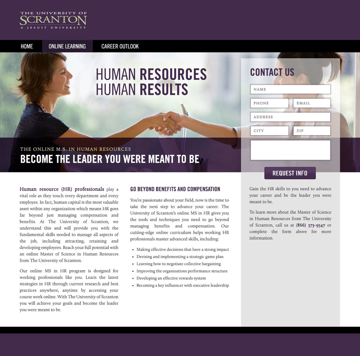 University of Scranton Website Mockup